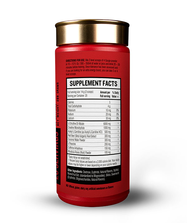 4 Gauge's ingredients are completely transparent. See for yourself the magic formula behind hard gains that will get you jacked