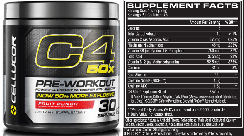 C4 50X Ingredients
