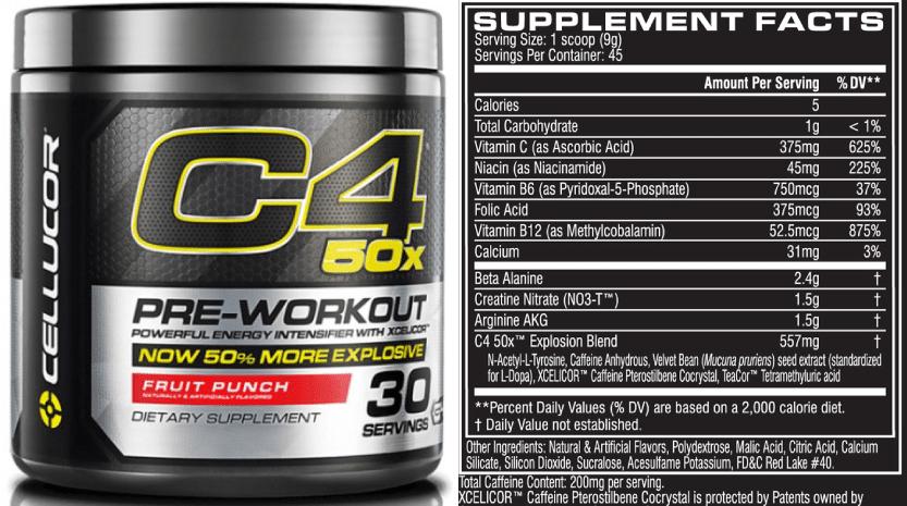 C4 50X Ingredients