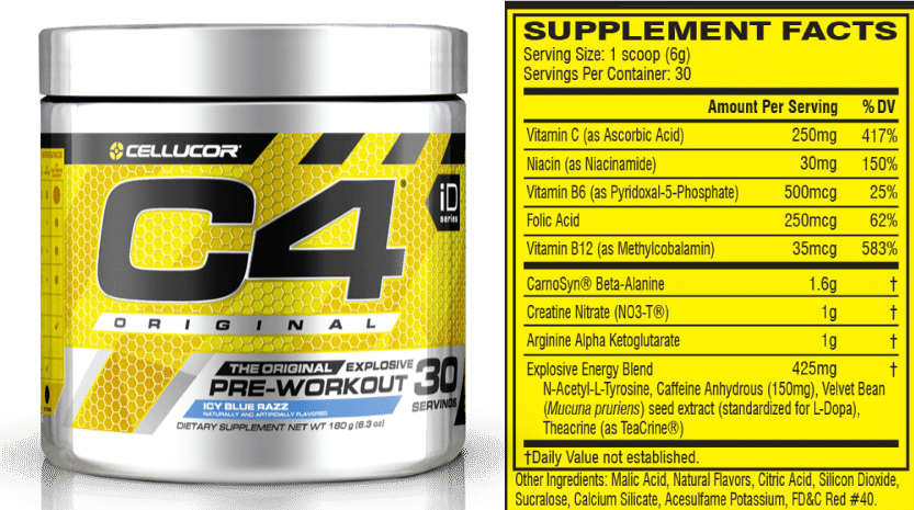 C4 Pre-Workout ingredients.