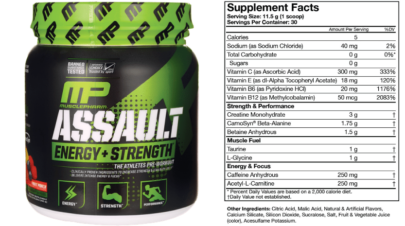 Musclepharm Assault Ingredients.