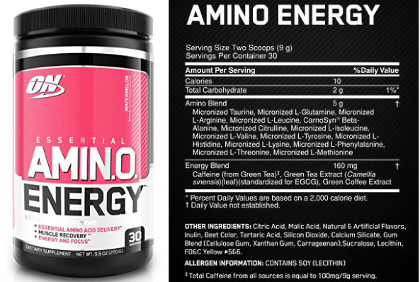 Optimum Nutrition Amino Energy ingredients.