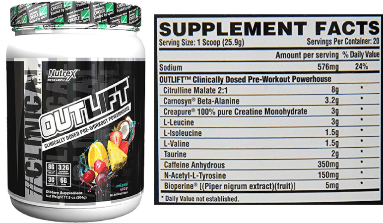 Outlift Pre Workout Inredients